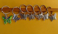 Stitch marker, knitting 6+1, pewter and cloisonne beads  ~~ butterfly