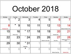October 2018 Calendar with Holidays: We are bringing here blank templates in Portrait and Landscape format. Check printable calendar templates and holidays Excel Calendar, Printable Calendar Template, Calendar 2018, Uk Holiday Calendar, October Calendar, Usa Holidays, Holidays And Events, National Holidays, Calendar Worksheets
