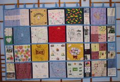 SLIKstitches: This was made in 2004 as a leaving present for our Vicar and his wife.  They had been a big part of the lives of people in two villages for  about 12 years, and lots of people wanted to contribute.  It's about 6 foot high, and about 10 foot wide! Dozen of organisations and families contributed a small, medium or large block which where then all stitched together.