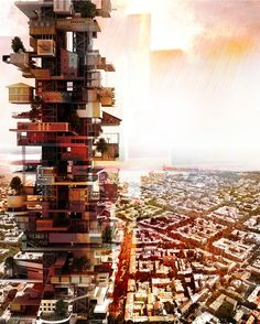 Image from VERTICAL street/city by Arsenii Kuznetsov in Odessa, Ukraine Architecture 101, Futuristic Architecture, Vertical City, Anime City, Futuristic City, Fantasy Places, 3d Prints, Built Environment, Urban Design