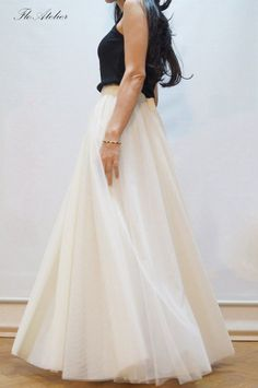 3b1d95437ac Women Tulle Skirt Tutu Skirt Princess Skirt Wedding Skirt Long Skirt Off  White Long Skirt Fashion Sk