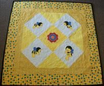 Little Spring Bee Applique Finished Baby Quilt