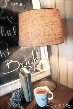 DIY Pottery Barn Knock Offs • Lots of great Ideas and Tutorials! Including, from 'the concrete cottage', this wonderful glass bottle lamp just like PB's!