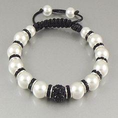 """Uber Shamballa"" Bracelet - Black and White Pearl"