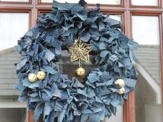 Up-cycled denim rag wreath. This one's better than the beach one! Jean Crafts, Denim Crafts, Denim Baby Shower, Diy Wreath, Rag Wreaths, Burlap Wreaths, Lace Umbrella, Denim Ideas, Red Barns