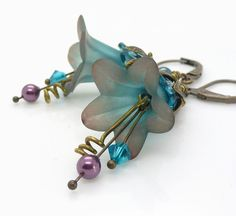 Teal lucite flower earrings Purple and teal earrings by WickedRuby