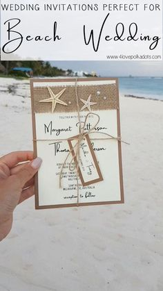 The beach is the most popular destination wedding style nowadays and many brides wish to start their wedding style off right with a beautiful beach theme wedding event invite. Beach Wedding Reception, Beach Ceremony, Beach Wedding Favors, Beach Wedding Invitations, Unique Wedding Favors, Wedding Invitation Wording, Wedding Guest Book, Handmade Wedding, Wedding Themes