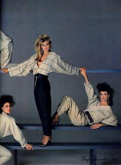 Versace 1984 Photographer: Richard Avedon Models: Andie MacDowell, Kim Alexis , and Kelly LeBrock