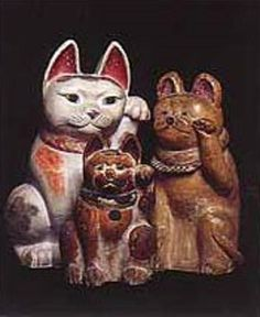 Maneki Neko - Grouping of Meiji, Taisho and Showa period clay figures, 33 cm. and 49 cm. Maneki Neko, Statues, Japanese Colors, Showa Period, Beautiful Dark Art, Japanese Cat, Cat Statue, Cat Doll, Clay Figures