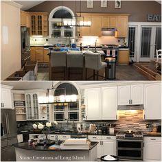 Before & After - Kitchen Refurb - #stonework #backsplash #kitchens - www.stonecreationsoflongisland.net Before After Kitchen, Deer Park, Stone Work, Remodels, Kitchen Interior, Backsplash, Kitchens, Kitchen Cabinets, Bathroom