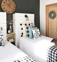 I love this stunning black and white headboard to wall contrast with the buffalo check and those pom-pom euro shams Aaah! Home Bedroom, Girls Bedroom, Bedrooms, Trendy Bedroom, Bedroom Ideas, Modern Farmhouse Bedroom, Farmhouse Style, White Headboard, Simple Bed