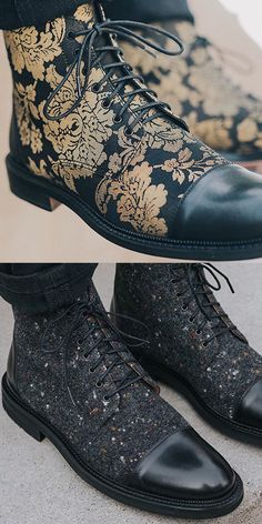 Fashion personality printed lace-up ankle boots - Casual Shoes Mens Fashion Casual Shoes, Casual Boots, Suit Shoes, Dress Shoes, Men's Shoes, Lace Up Ankle Boots, Shoe Boots, Geek Fashion, Boy Fashion