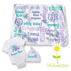 Personalized Floral Baby Blanket  Optional Bodysuit & Hat