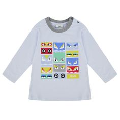 4b8383b4a Fendi Baby Boys Pale Blue T-Shirt with Multicoloured Monster Eye Print Boys  White T