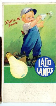 Old Vintage Advertising Blotter Laco Lamps Lightbulbs