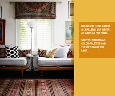 Pattern & Color #rug #pillows #window
