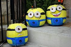 Pumpkin minions. Paint mason lid for the goggles. My kids would love this!