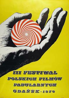 1976 Jerzy Krechowicz - Festival of Polish Feature Films, Gdansk 1976 Talk To The Hand, Polish Posters, Graphic Art, Graphic Design, Poster Making, Feature Film, Art School, Vintage Posters, Cover Art