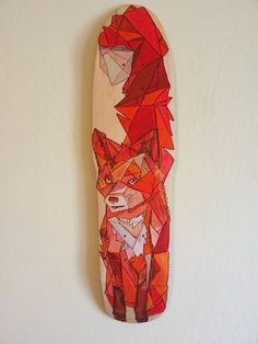 This is a very unique skateboard design. I like how the fox is created with different geometric shapes meshed together. Also the color scheme works nicely together with different variations of reds complementing each other. The Daily Board
