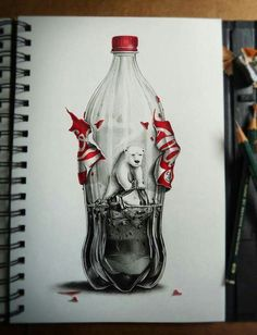 Polar bear in a bottle
