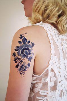 """Grand vintage floral hollandais 'Delft Blauw""""tatouage temporaire"""