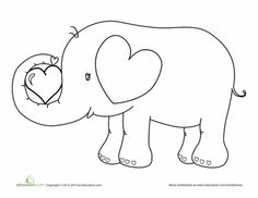 Kindergarten Holidays & Seasons Worksheets: Valentine's Day Elephant Coloring Page Cool Coloring Pages, Printable Coloring Pages, Coloring Books, Happy Elephant, Elephant Love, Valentines Day Coloring Page, Valentine Day Cards, Valentine Crafts, Elephant Coloring Page
