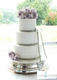 Lilac Roses & Lace - Cake by Louise Jackson Cake Design