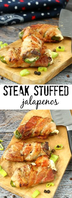 A simple filling of steak and cream cheese make these Gluten Free Steak Stuffed Jalapenos wrapped in bacon a popular appetizer. I made these and they were a hit! Popular Appetizers, Finger Food Appetizers, Appetizer Recipes, Dinner Recipes, Mexican Food Recipes, Beef Recipes, Cooking Recipes, I Love Food, Good Food