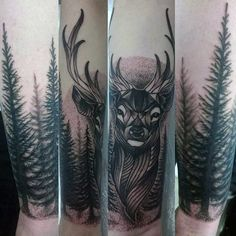 Realistic Stag Tattoo Designs You Must See Deer Hunting Tattoos, Deer Tattoo, Skull Tattoos, Forearm Tattoo Men, S Tattoo, Leg Tattoos, Stag Tattoo Design, Tree Tattoo Designs, Tattoo Ideas