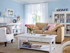 Blue Walls White Tan Furniture Stiles Living Room Decor Rooms