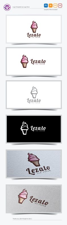 Lezato Ice Cream Logo Template by Logo Hero, via Behance
