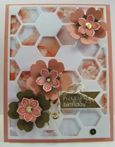 Stampin' Up! Petite Petals, Banner Greetings, Watercolor Wonder DSP - Petite Petals Punch, Pansy Punch (by Barb Mann) Card Making Inspiration, Making Ideas, Happy Birthday Cards, Birthday Wishes, Hexagon Cards, Scrapbook Cards, Scrapbooking, Flower Cards, Homemade Cards