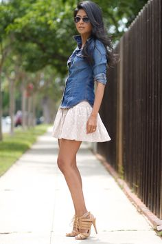 short lace skirt and chambray blouse with stilettos