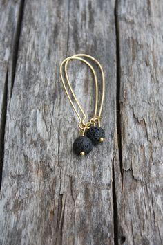 Black Lava Earrings Lava Jewelry Hawaiian Jewelry by DRaeDesigns