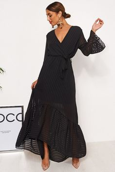 Coco Black Wrap Front Maxi Dress Floral Print Maxi Dress, Chiffon Maxi Dress, Maxi Wrap Dress, Maxi Dress With Sleeves, Clothing Websites, Dress First, A Boutique, Fashion Bible, Fashion Fashion