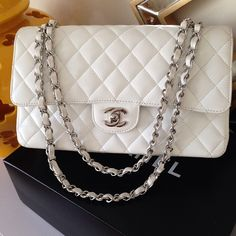 6f6d58ace6ed66 CriminallyChic White Chanel Bag, Chanel Purse, Chanel Bags, Chanel Bag  Classic, Burberry