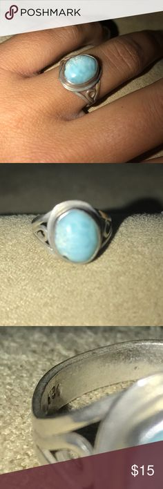 Larimar Handmade Island Ring 🌴 Larimar-stoned ring. Matte blue - legend has it that when placed in salt water, the blues POP out! The stone is not entirely smooth, which adds to the character!  This ring was handmade and purchased in the DR. Sterling Silver. Size 6.5. ✨Bundle and Save✨ Jewelry Rings