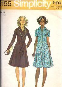 Vintage 70s Mod Flared Dress, Simplicity 6155, Size 16, UNCUT