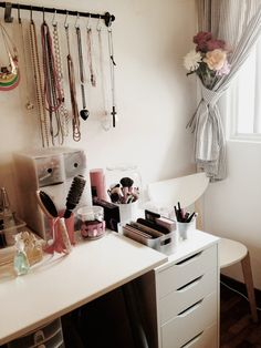 Necklaces on S-hooks & makeup collection in IKEA Alex drawers!