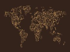 Map of the World Map Floral Swirls by Michael Tompsett  Different ...