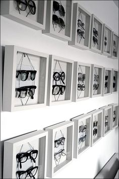 sunglasses display The original source commented on the difficulty of display of eyewear while documenting this Eyewear in Shadowboxes Frame approach Design Garage, Optometry Office, Decoration Vitrine, Optical Shop, Visual Display, Retail Interior, Store Displays, Window Displays, Retail Space