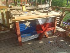 We made this Southern Good Ole' Boy's Pallet Bar using a 12' x 4' pallet. Half was used for a separate fence project. We built the L-shaped bar on our deck!