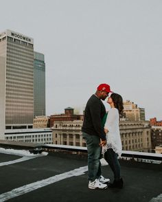 Rooftop Engagement Session Downtown Omaha