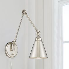 Adjustable Arm Cone Wall Sconce polished_nickel