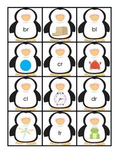 These cards have beginning blends along with pictures of familiar objects that begin with those sounds. Use as a memory game, pocket chart activity...