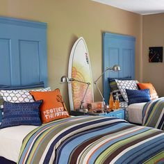 and Chic DIY Headboard Ideas big boy room. The painted doors in a modern color gives some architecture to the room. The painted doors in a modern color gives some architecture to the room. Headboard Projects, Cool Boys Room, Kids Bedroom, Home, Room, Boys Bedrooms, Bedroom Design, Furniture Makeover, Home Bedroom