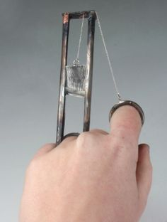 Guillotine, or The Divorce - Art #ring in stainless steel. $820.00, via Etsy.
