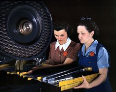 """June 1942. Inglewood, California. """"Punching rivet holes in a frame member for a B-25 bomber at North American Aviation."""" 4x5 Kodachrome transparency by Alfred Palmer for the Office of War Information."""