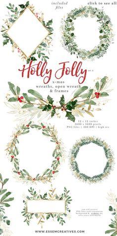 Christmas Wreath Clipart Holly Jolly Clip Art Watercolor | Etsy