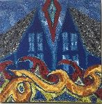 Two blue houses rug hooking by Deanne Fitzpatrick. Red, orange, blue, green.